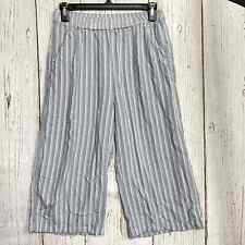 American Eagle Outfitters Women S Striped Cropped Pants Pull On Blue