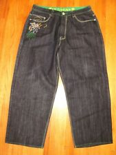 Men's Victorious Black Embroidered Skull Loose Fit Straight Leg Jeans 40 X 32