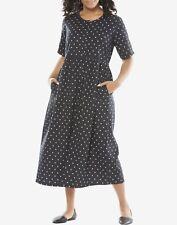 Woman Within Plus Size Black Dot Button Front Empire Waist Dress Size 2X(26/28)
