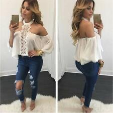 Solid Women Ladies Blouse Loose Chiffon Tops Long Sleeve off Shoulder Clubwear White XL