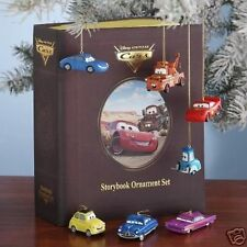 Disney Cars Lightning McQueen Storybook Christmas Ornament Set NIB HTF