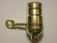 3 WAY SWITCH BRASS PLATED LAMP SOCKET WITH METAL TURN KEY NEW 306065K