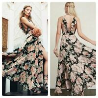 Reformation Gisele Arianna Maxi Dress in De Marie Floral Wrap Black & Pink XS