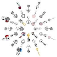 Love Heart Dangle Charms Bead  Fit 925 Silver Sterling Bracelets Necklace