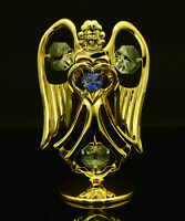 SWAROVSKI CRYSTAL ELEMENT SEPTEMBER BIRTHSTONE SAPPHIRE ANGEL 24K GOLD PLATED