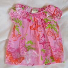 baby toddler girl 12 months cool lightweight summer pink butterflies woven shirt