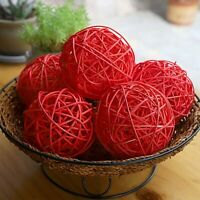 6 PCs Wicker Rattan Balls Ornament Gift Wedding Party Decoration 3.93 in