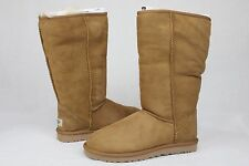 UGG AUSTRALIA ALEXI Classic Tall Suede Curly Sheepskin Chestnut Color Size 7 US