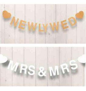 WOOD WHITE NATURAL WEDDING GARLAND MR & MRS, NEWLY WEDS, MRS & MRS, MR & MR