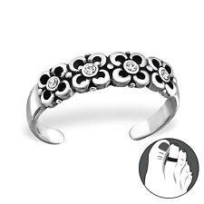 Tjs 925 Sterling Silver Toe Ring Band Flowers Adjustable Body Jewellery Oxidised