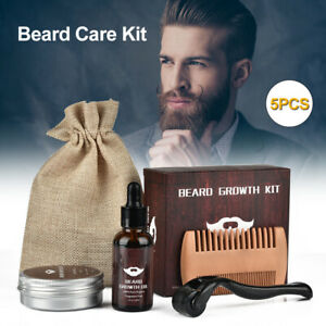 Men Beard Growth Kit - Micro Needle Derma Roller - Beard Growth Serum- Wood Comb