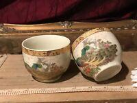 """2 Asian Porcelain Satsuma Peacock Teacups, Gold Decorative Rim 2 7/8""""x2 1/4"""""""