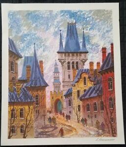 "Large 29""x24"" Street of Old Prague - Kranyansky - Fine Art Painting - Park West"