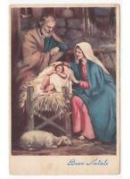 1954 Buon Navidad Tarjeta Postal Religiosa Natividad Jesús Niño Pesebre Establo
