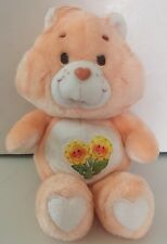 "Vintage 1983 Friend Bear 13"" Original Plush Care Bears Toy Teddy Flowers Kenner"