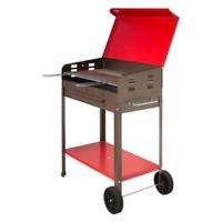 Barbecue a carbone Vanessa in ferro con ruote cm 35x70x80 h griglia in acciaio