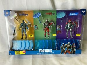 """Fortnite Early Game Trio Mode 3 4"""" Figures With Tools Weapons And Backpacks"""