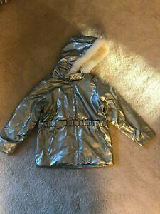 Shiny Grey Disney Princess Cinderella Winter Coat Size 7-8 Medium