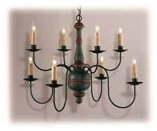 Country Traditions Lighting C405-8 Primitive wood center Chandelier 8 arms Green