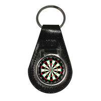 Dart Board Silver Tone Black Leather Keyring darts pub game Brand New