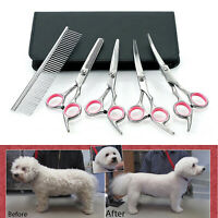 "Set of Professional 6"" Pet Grooming Scissors Dog Hair Cutting Curved Shears Tool"
