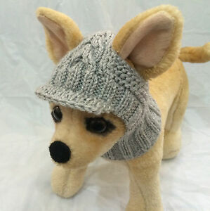 Pet Clothes Apparel Outfit Handmade Knit Visor Pullover Snow-Hat for Small Dog