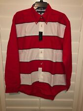 Tommy Hilfiger Mens Flag Striped Color Block Long Sleeve Button Up Shirt Med NWT