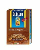 12 PACKS : De Cecco Whole Wheat Pasta, Penne Rigate, 13.25 Ounce