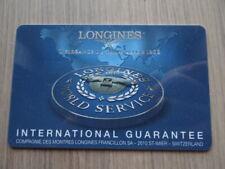 GENUINE LONGINES WATCH'S  INTERNATIONAL GUARANTEE CARD