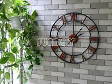 47cm Antique Distressed Skeleton Country Style Metal Oversize Wall Clock