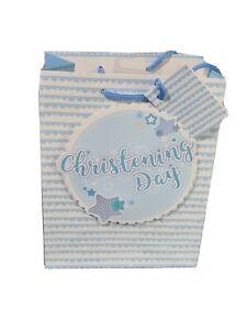 Gift Bag. Medium Portrait Glitter Baby Boy Christening Day 18x23cm