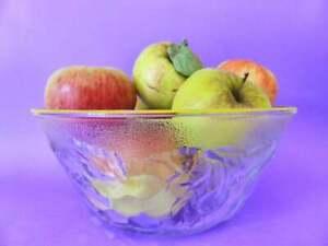Italian Pressed Glass Serving Bowl, Fruit Pattern Vintage Mid Century Fruit Bowl