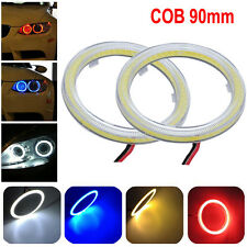 2pcs White 90MM COB LED Angel Eyes Headlight Halo Ring Warning Lamps with Cover