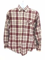 Levi's Long Sleeve Button Up Flannel Shirt Red White Mens Large Regular Cotton