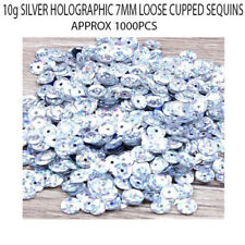 1000 Silver Holographic 7mm Round Paillette Cup Loose Sequins Sewing Wedding Art