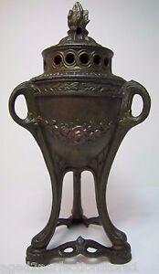 Antique Decorative Arts Urn Incense Burner Ornate Flame Finial Flowers