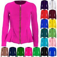 Plus Size Ladies Womens Tailored Zip Up Peplum Ruffle Frill Jacket Blazer Top