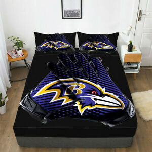 Baltimore Ravens Fitted Sheet Set 3PCS Bed Sheet Pillowcases Mattress Cover Gift