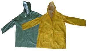 PVC Regenjacke mit Kapuze Grün oder Gelb Regenschutz Gummijacke
