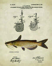 Fishing Lure Patent Poster Art Print Antique Channel Catfish Reels Fish PAT219