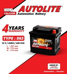 CAR BATTERY  TYPE 063 12V 45AH 420CCA  WITH 4 YEARS WARRANTY MAINTENANCE FREE