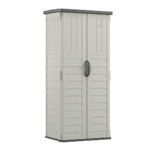 Suncast 22 cu. ft. Vertical Resin Storage Shed for Backyard and Patio, Light Tau