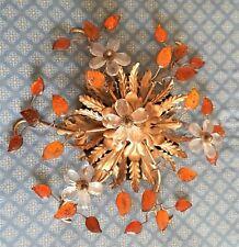 Lampe Plafonnier Applique à Décor de Feuilles en Métal doré Verre Maison Baguès