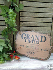Shabby French Chic Vintage Style Tin Plaque GRAND L'HOTEL1966 Brown Metal Sign