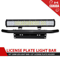 20INCH Bull Bar Mount LED Light Bar 23in License Plate Front Bumper Plate Frame
