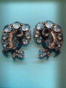 Pair of Eisenberg Feather Original Sterling Rhinestone Inset Fur Pins!