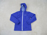 Columbia Jacket Girls Small Blue White Hooded Outdoors Full Zip Coat Kids Youth
