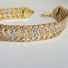 Wide real 14k gold bracelet yellow white rose 8 Inches Long 10.5 mm wide
