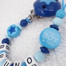 Schnullerkette mit Namen ★ New BOY in Town ★ Stern blau grau Junge Babygeschenk