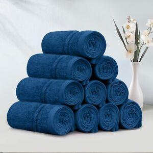 Pack of 10 450GSM 30 x 30cm Washcloths Towel Soft - Face Towels Set (Navy) &Gift